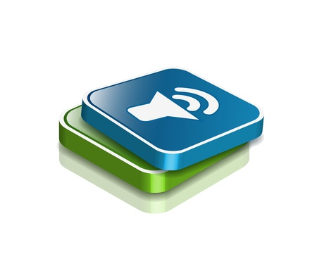 3d vector glossy speaker web icon design element. Vector