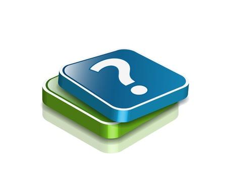 unsure: 3D vector punti interrogativi icon design con isolated on white.