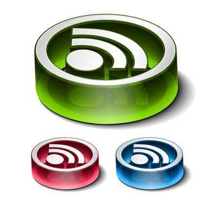 rss: 3d vector rss icon design element.
