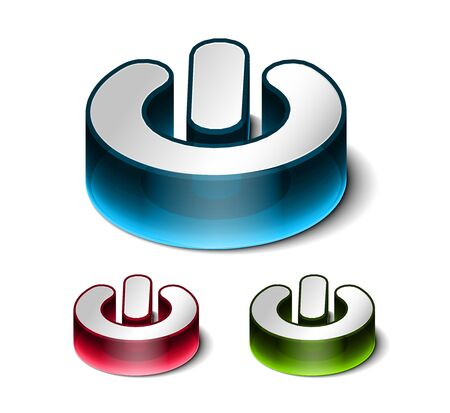 interruttore: 3D Glowing potere o disattivare disegno di elemento pulsante vettoriale.