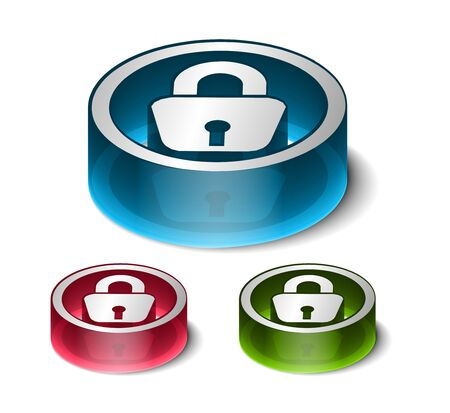 3d glossy lock icon, blue isolated on black background. Stock Vector - 9525264