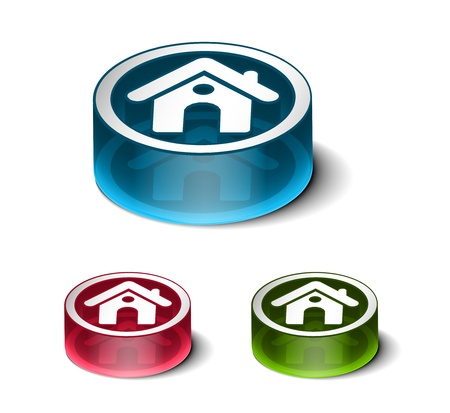 exterior element: 3d glossy play icon, includes 3 color versions.