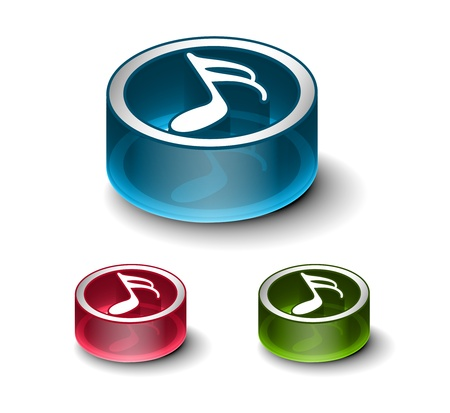 block note: 3d glossy music notes icon, includes 3 color versions.