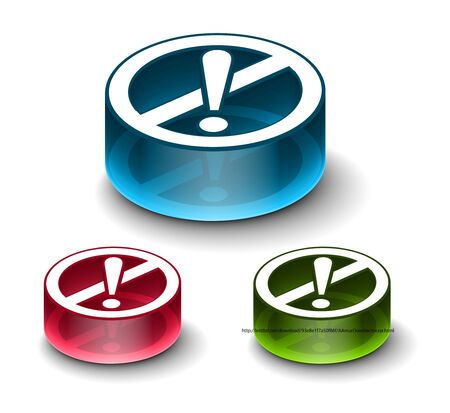 3d glossy attention icon, includes 3 color versions. Stock Vector - 9525280