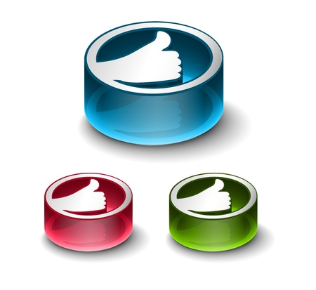 3d glossy Like/thumbs up symbol, includes 3 color versions. Stock Vector - 9525270