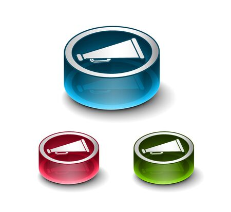 announcement icon: 3d glossy loudspeaker as announcement icon, includes 3 color versions. Illustration