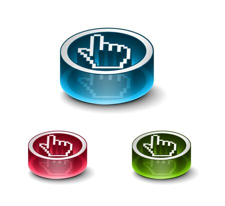 3d glossy web download icon, includes 3 color versions. Vector