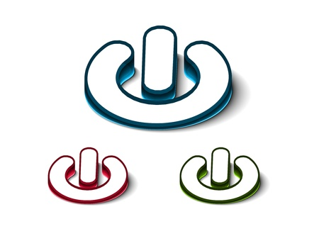 3d glossy power on or off button icon, includes 3 color versions. Stock Vector - 9542971