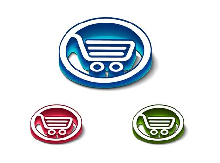 flux: 3d glossy shopping icon, includes 3 color versions.