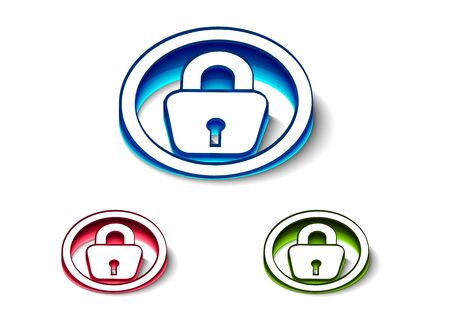 3d glossy lock icon, includes 3 color versions. Stock Vector - 9542966