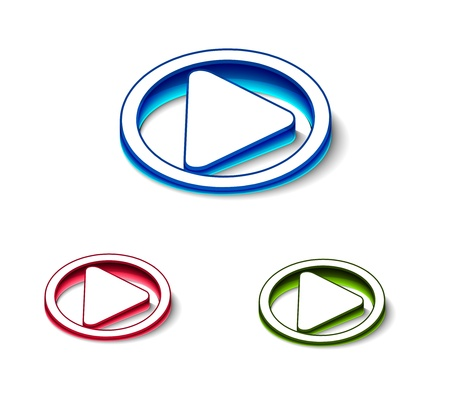 3d glossy play icon, includes 3 color versions. Vector
