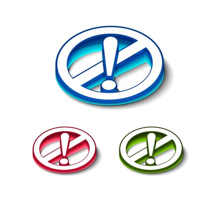 3d glossy attention icon, includes 3 color versions. Vector