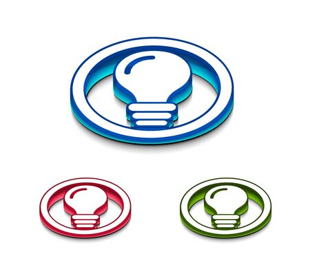 3d glossy idea web icon, includes 3 color versions. Stock Vector - 9542979