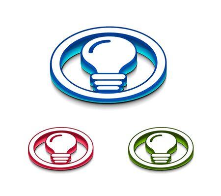 3d glossy idea web icon, includes 3 color versions. Vector