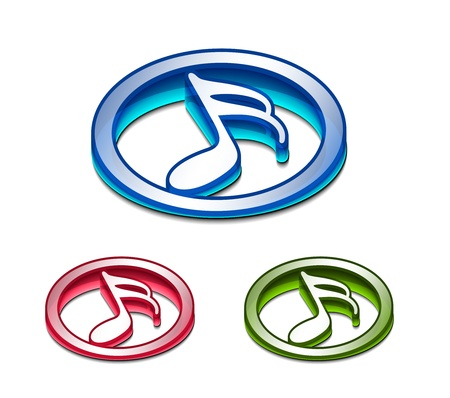 3d glossy music notes icon, includes 3 color versions. Vector