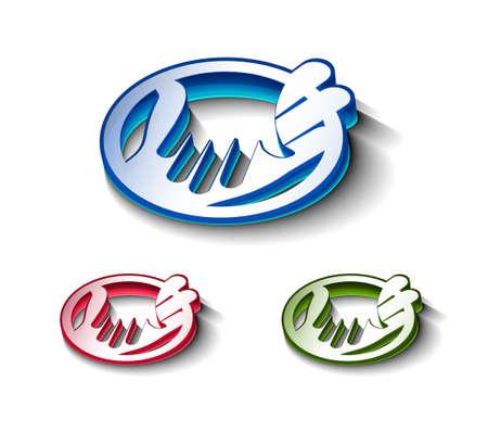 mani che si stringono: 3D glossy icona mani agitazione, include 3 versioni di colore.