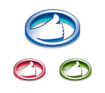 3d glossy  Like/thumbs up symbol, includes 3 color versions. Stock Vector - 9542968