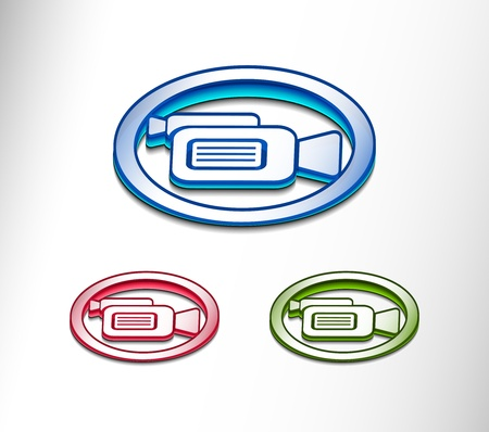 3d glossy camera web icon, includes 3 color versions. Vector