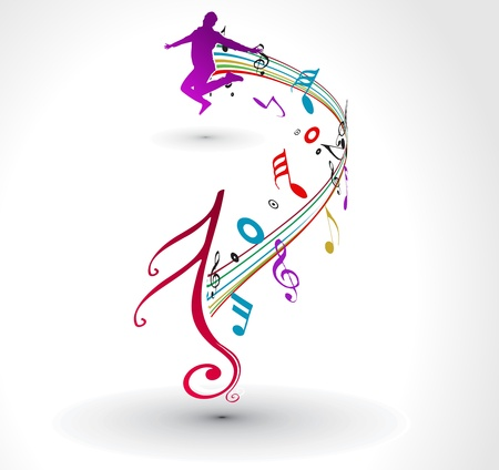 modern  dance: A man dance with musical notes background.