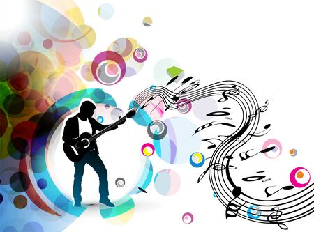 A musician man playing a guitar with musical notes background. Vector