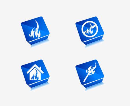 winter barbecue: 3d vector fire icon set design element design set. Illustration