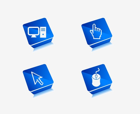 Electronic computer icon set. Internet Button vector illustration.  Vector