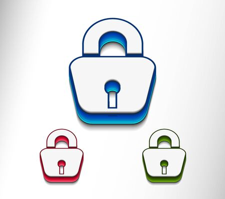 3d glossy lock icon, blue isolated on black background. Vector