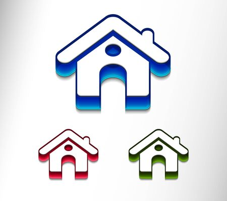 3d vector home icon design with isolated on white.  Stock Vector - 9543032