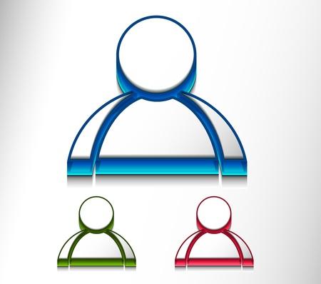 3d vector user web icon design element set.  Stock Vector - 9543074