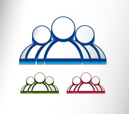 socialize: 3d vector user web icon design element set.