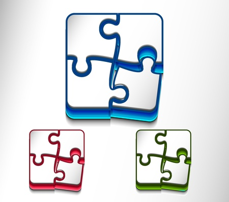 vector glossy puzzle web icon design element set. Vector