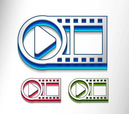 3d glossy video play icon, includes 3 color versions. Vector