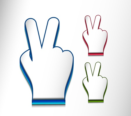 computer language: vector glossy victory web icon design element.  Illustration