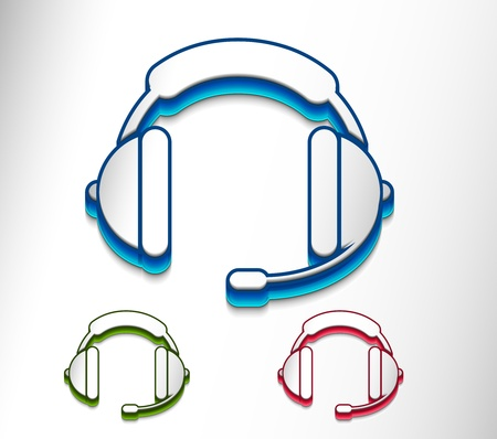 vector glossy headset web icon design element.  Vector