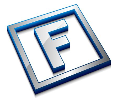 block letters: 3d vector web design alphabet symbol - F Illustration