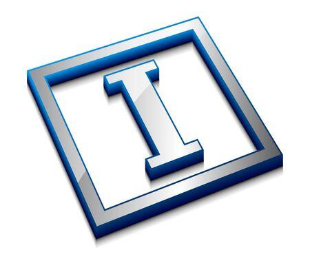 3d vector web design alphabet symbol - I Stock Vector - 9543104