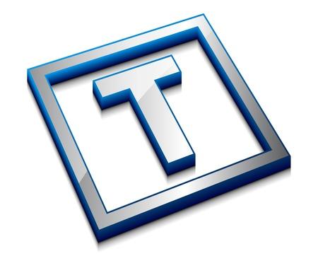 3d vector web design alphabet symbol - T Vector