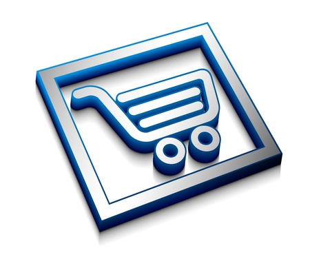 3d glossy shopping icon, blue isolated on black background. Stock Vector - 9543162