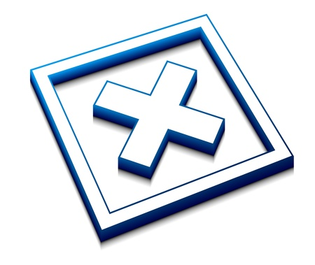 3d illustration of blue cross mark on isolated background Stock Vector - 9543099