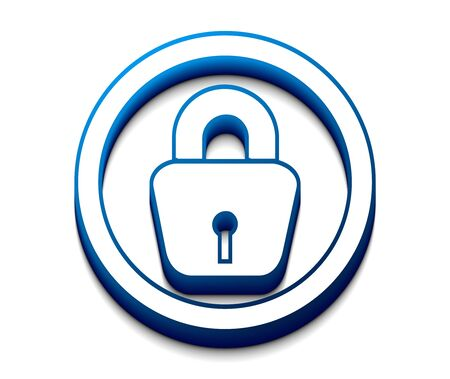 decrypt: 3d glossy lock icon, blue isolated on white background.