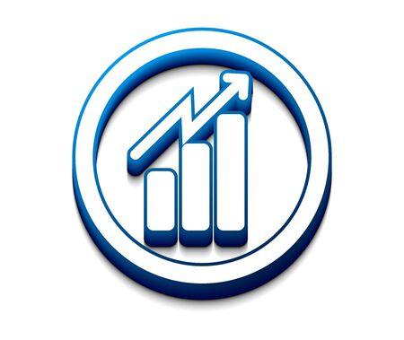 stock graph: 3d vector growth progress blue arrow