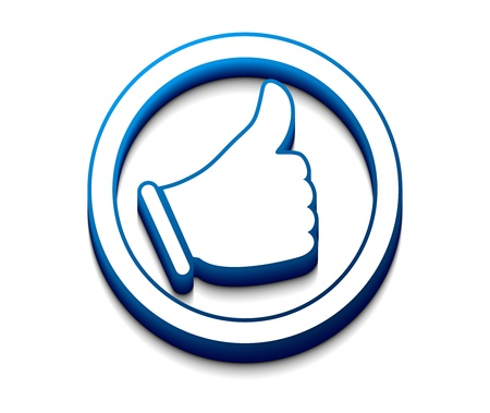 Social media and network concept: blue Like button isolated on white reflective background  Vector