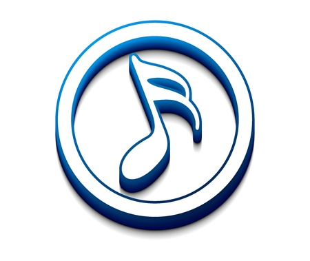 eighth note: 3d glossy music notes icon, vector element.