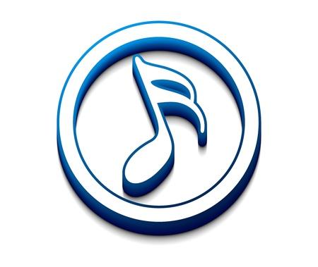 3D lucido note icona music, elemento del vettore.