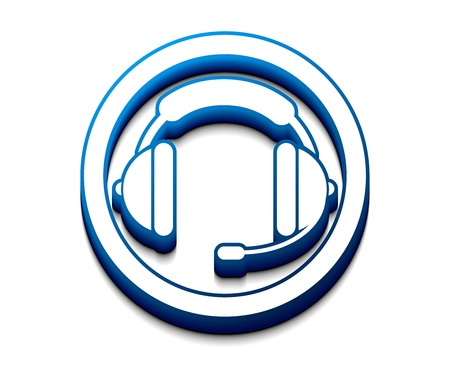 media center: 3d glossy headset web  icon, vector illustration.