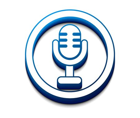 podcasting: 3d glossy mic icon, vector illustration.