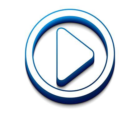 3d glanzend pictogram voor afspelen, inclusief 3 kleuren versies.