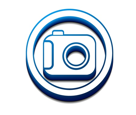 3d glossy camera web icon Stock Vector - 9559311