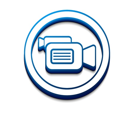 3d glossy camera web icon Vector