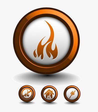 winter barbecue: Fire icon set - vector illustration Illustration